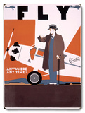 Fly Curtiss Airplane Aviation Wood Sign