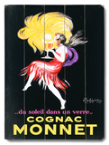 Cognac Monnet Wood Sign