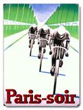 Paris soir Bicycle Race Wood Sign