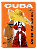 Cuba Delta Air Lines Travel Wood Sign