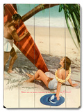 Matson Surf Couple Wood Sign