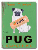 Naturally Sweet Pug Orange Juice Placa de madeira