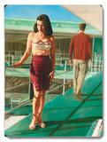 Caribbean Motel Pin Up Girl Wood Sign