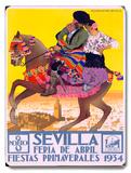 1934 Sevilla Fiesta Placa de madeira