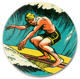 Surfer in Tube Wood Sign