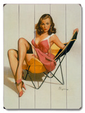 Beach Chair Pin Up Girl Wood Sign