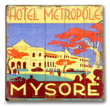 Hotel Metropole Mysore Wood Sign