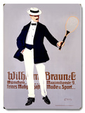 Wilhelm Braun Tennis Racket Wood Sign