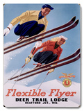 1954 Deer Lodge Flexible Flyer Ski Wood Sign