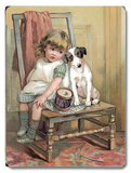 Girl and Dog on Chair Wood Sign
