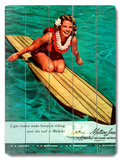 Surfer Girl - Buoyant Riding Waikiki Wood Sign