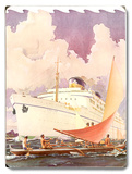 S.S. Lurline, Outrigger Greeting Wood Sign