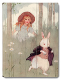 Girl and Rabbit Wood Sign