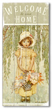 Girl with Flowers - Welcome Wood Sign