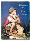 Boy & Dog - Welcome Wood Sign