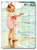 Girl on Beach Wood Sign