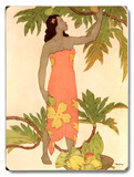 Woman at Palm Tree Wood Sign