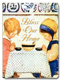 Girls at Table - Bless our Home Wood Sign