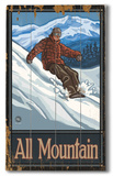 Snowboarder - All Mountain Wood Sign