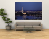 Bridge Over a River, Washington Monument, Washington DC, District of Columbia, USA Wall Mural