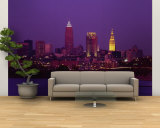 Buildings Lit Up at Night, Cleveland, Ohio, USA Wall Mural – Large