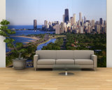 Aerial View of Skyline, Chicago, Illinois, USA Wall Mural – Large