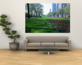 Public Gardens, Loop, Cityscape, Grant Park, Chicago, Illinois, USA Wall Mural