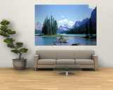 Maligne Lake Near Jasper, Alberta, Canada Wall Mural