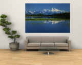 Reflection of Mountains in Lake, Mt. Foraker and Mt. Mckinley, Denali National Park, Alaska, USA Wall Mural