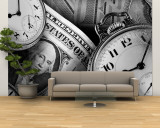 Clocks and Dollar Bills Wall Mural – Large