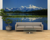 Reflection of Mountains in Lake, Mt. Foraker and Mt. Mckinley, Denali National Park, Alaska, USA Wall Mural – Large