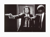 Pulp Fiction –  Duo with Guns (Jackson and Travolta) B & W Movie Poster Poster
