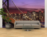 Bay Bridge Illuminated at Night, San Francisco, California, USA Wall Mural – Large