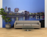 Buildings at the Waterfront Lit Up at Dawn, Des Moines River, Des Moines, Iowa, USA Wall Mural – Large