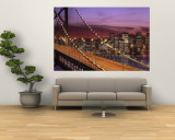 Bay Bridge Illuminated at Night, San Francisco, California, USA Wall Mural