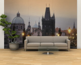 Lit Up Bridge at Dusk, Charles Bridge, Prague, Czech Republic Wall Mural – Large