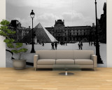 Black and White, Exterior, the Louvre, Paris, France Wall Mural  Large