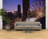 Lit Up Ferris Wheel at Dusk, Navy Pier, Chicago, Illinois, USA Wall Mural – Large