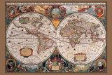 17. Jahrhundert, Welt Landkarte Poster