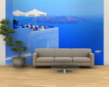 Building on Water, Boats, Fira, Santorini Island, Greece Wall Mural – Large