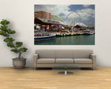 Boats Moored at a Harbor, Navy Pier, Chicago, Illinois, USA Wall Mural