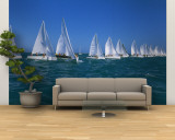 Sailboat Racing in the Ocean, Key West, Florida, USA Wall Mural – Large