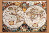 17th Century World Map Fotografia