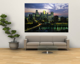 Buildings Lit Up at Dusk, Minneapolis, Minnesota, USA Wall Mural