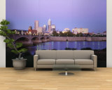 Bridge over a River with Skyscrapers in the Background, White River, Indianapolis, Indiana, USA Wall Mural – Large
