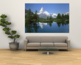 Lake, Mountains, Matterhorn, Zermatt, Switzerland Reproduction murale géante