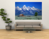 Barn on Plain Before Mountains, Grand Teton National Park, Wyoming, USA Wall Mural