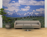 Clouded Sky Over Snow Covered Mountains, Grand Teton, Grand Teton National Park, Wyoming, USA Wall Mural – Large
