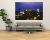 City Lit Up at Night, Edinburgh Castle, Edinburgh, Scotland Wall Mural