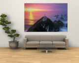 Sunset, Nugget Point Lighthouse, South Island, New Zealand Wall Mural